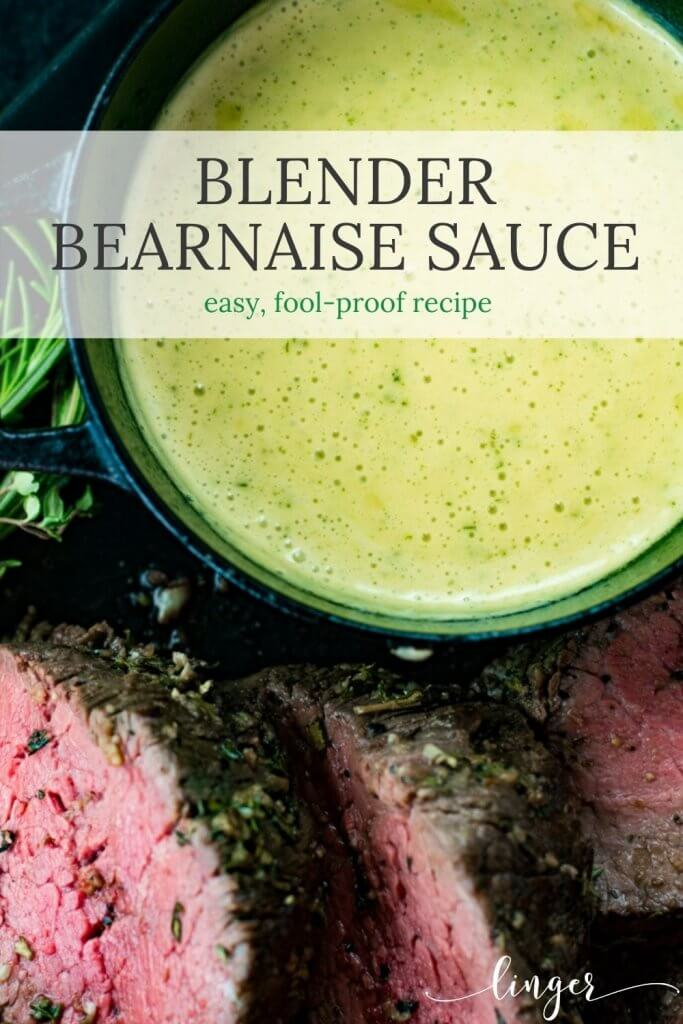 A bowl of homemade bearnaise sauce with sliced beef tenderloin around the bowl.