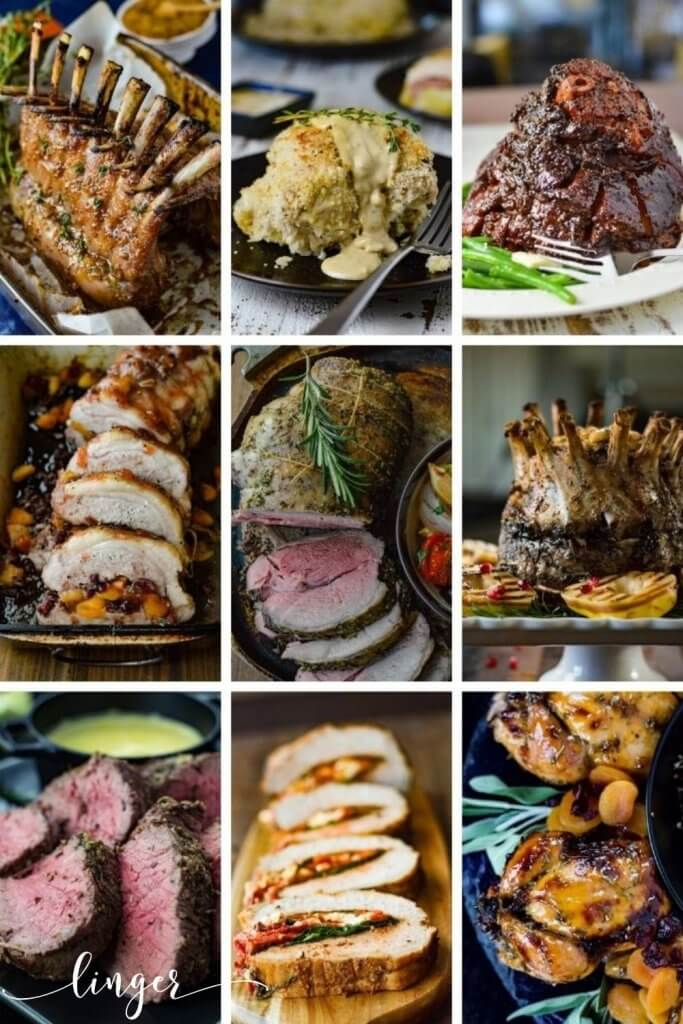Nine photos in a collage that highlight elegant main dish recipes for the Holidays.